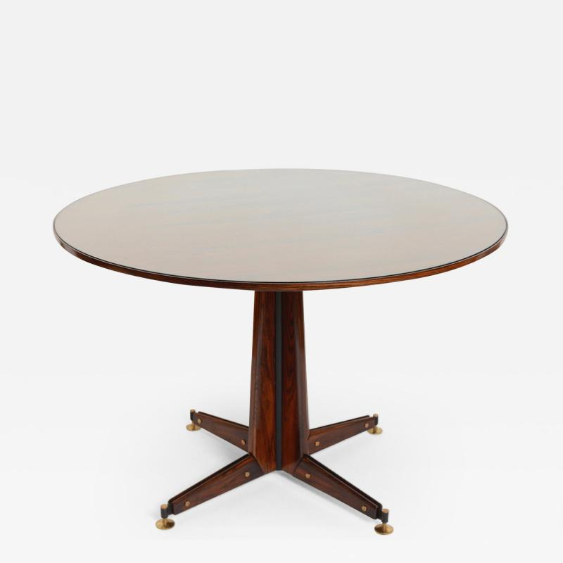 Sergio Mazza Italian Circular Rosewood Dining Table with Glass Inlay c 1950