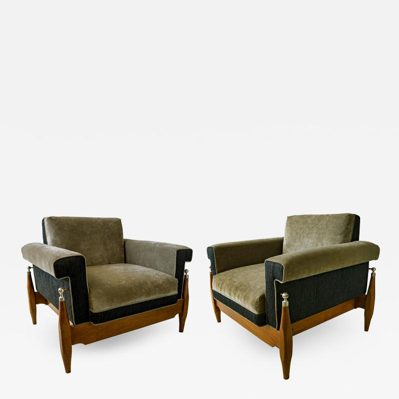 Sergio Rodrigues Fine Pair of Brazilian Rosewood Club Chairs