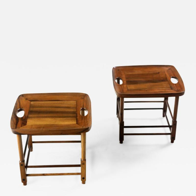 Sergio Rodrigues Mid Century Modern Pair of Magrini Stools by Sergio Rodrigues Brazil 1960s