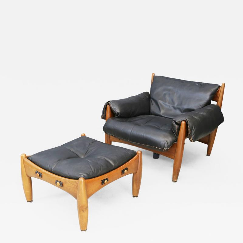 Sergio Rodrigues Sergio Rodrigues for Isa Bergamo Sheriff Lounge Chair and ottoman signed 1950s