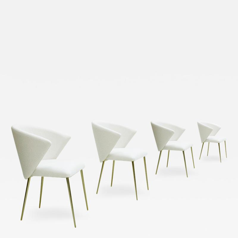Set Of Four Contemporary Modern White Fabric Chairs