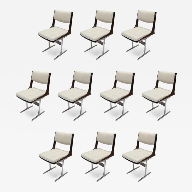 Set of 10 1960s Brazilian Jacaranda Tufted Dining Chairs in Beige Linen