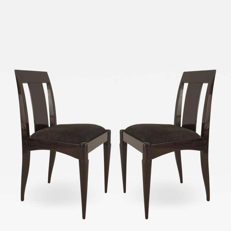 Set of 12 French Art Deco Oak Side Chairs