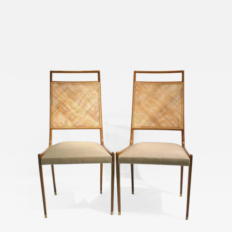 Set of 2 Midcentury Chairs in Walnut and Cane