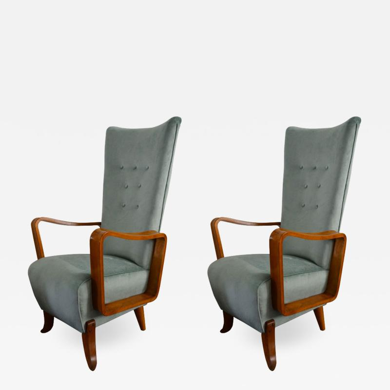 Set of 2 armchairs in light blue velvet from 50s italian production