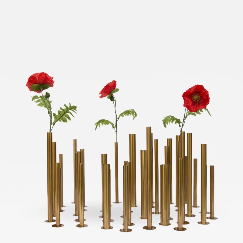 Set of 20 brass sculptural tubes