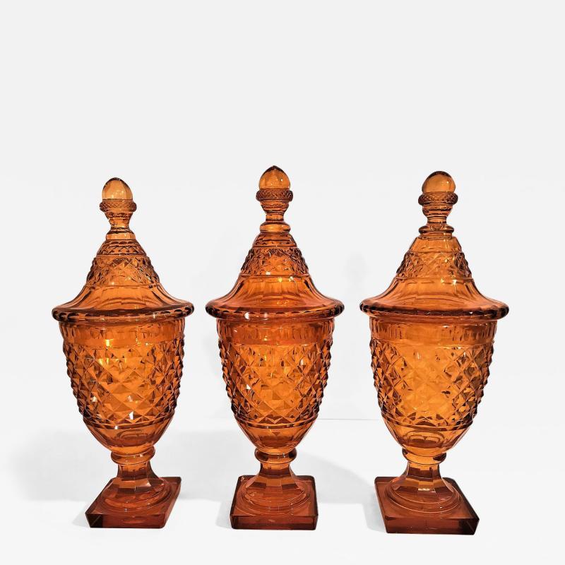 Set of 3 Amber Cut Crystal Bonbonaires Circa 1910 Bohemia