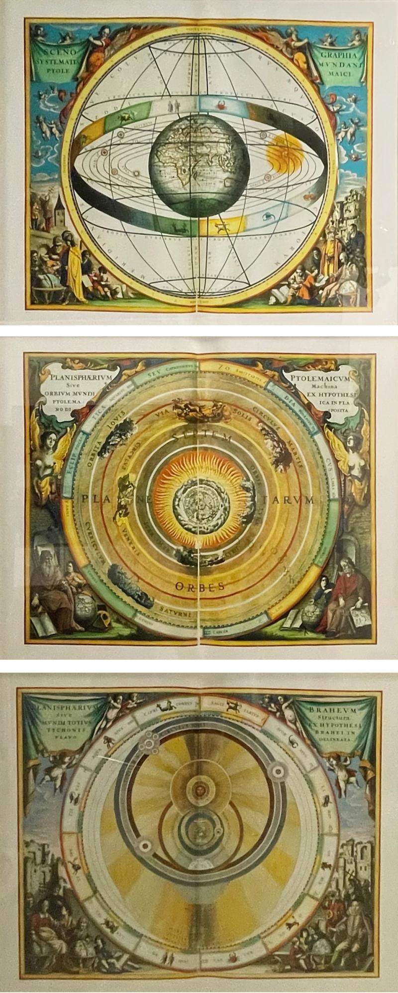Set of 3 Celestial Lithographs Planisphaerium Coeleste 30 100 19th Century