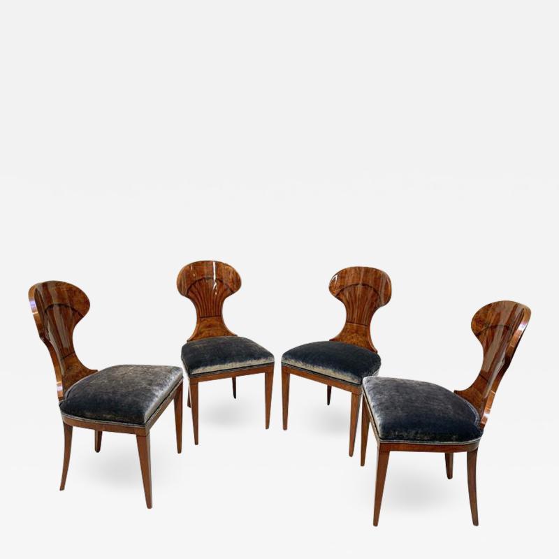 Set of 4 Biedermeier Ballon Chairs Ash Veneer Grey Velvet Vienna circa 1900