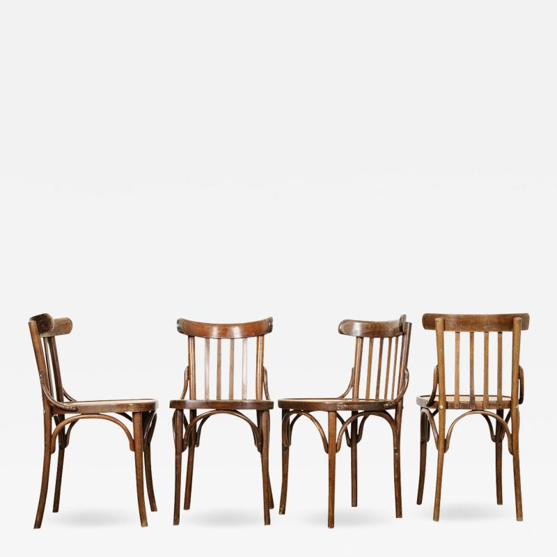 Set of 4 Early 20th Century French Oak Bentwood Dining Chairs