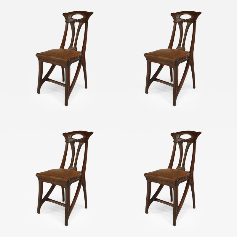 Set of 4 French Art Nouveau Walnut Sleigh Design Open Back Side Chairs