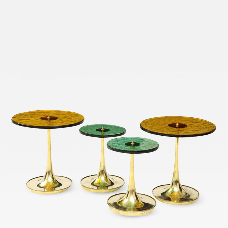 Set of 4 Round Bronze and Green Murano Glass and Brass Side Tables Italy 2021