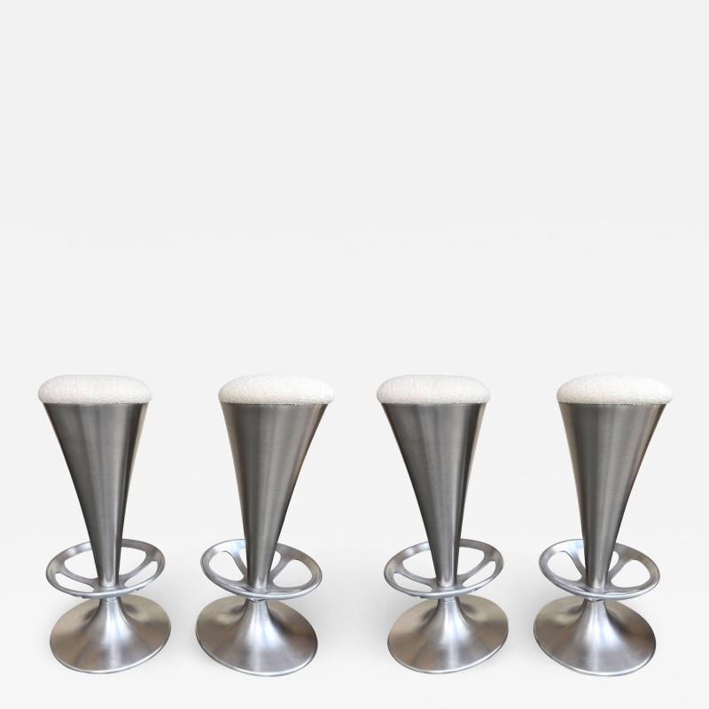 Set of 4 Stainless Steel Cone Bar Stools Italy 1990s