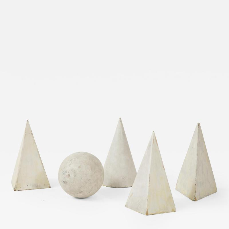 Set of 5 white Painted Wooden Geometric Molds