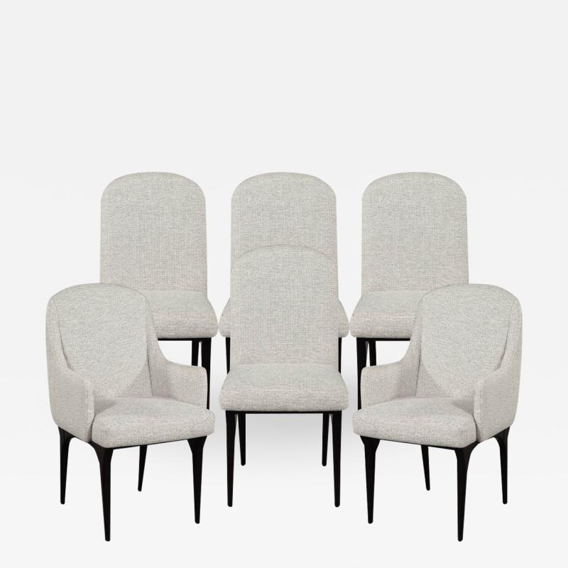 Set of 6 Modern Grey Dining Chairs