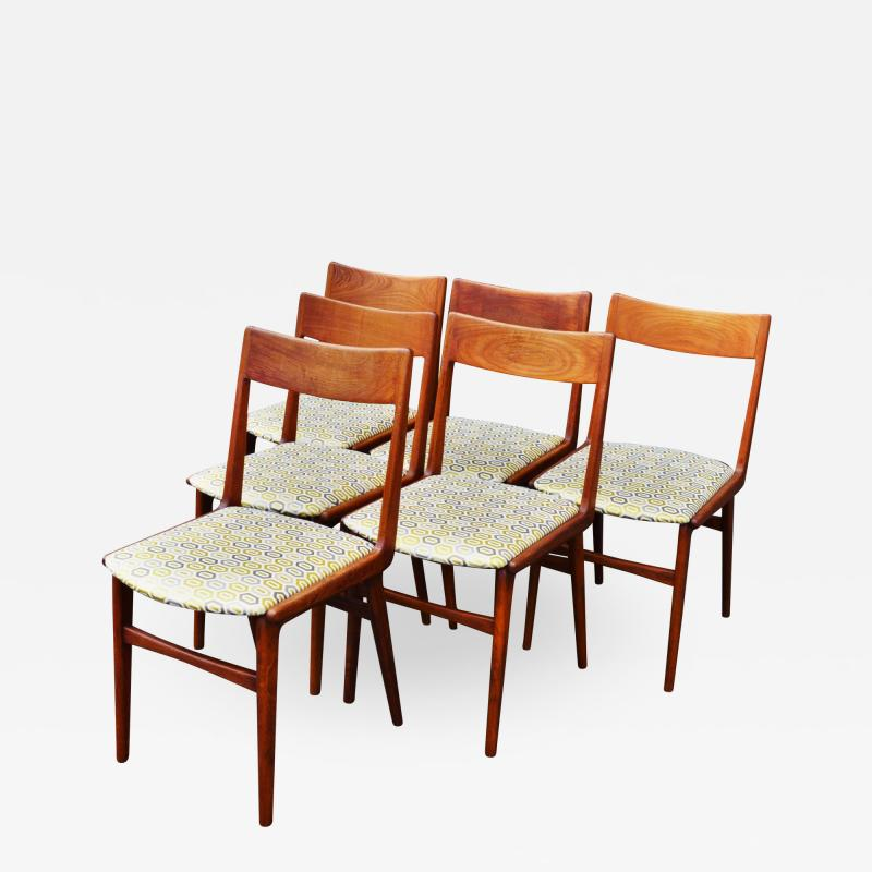 Set of 6 Quick Flip Boomerang Teak Dining Chairs w Graphic Seats