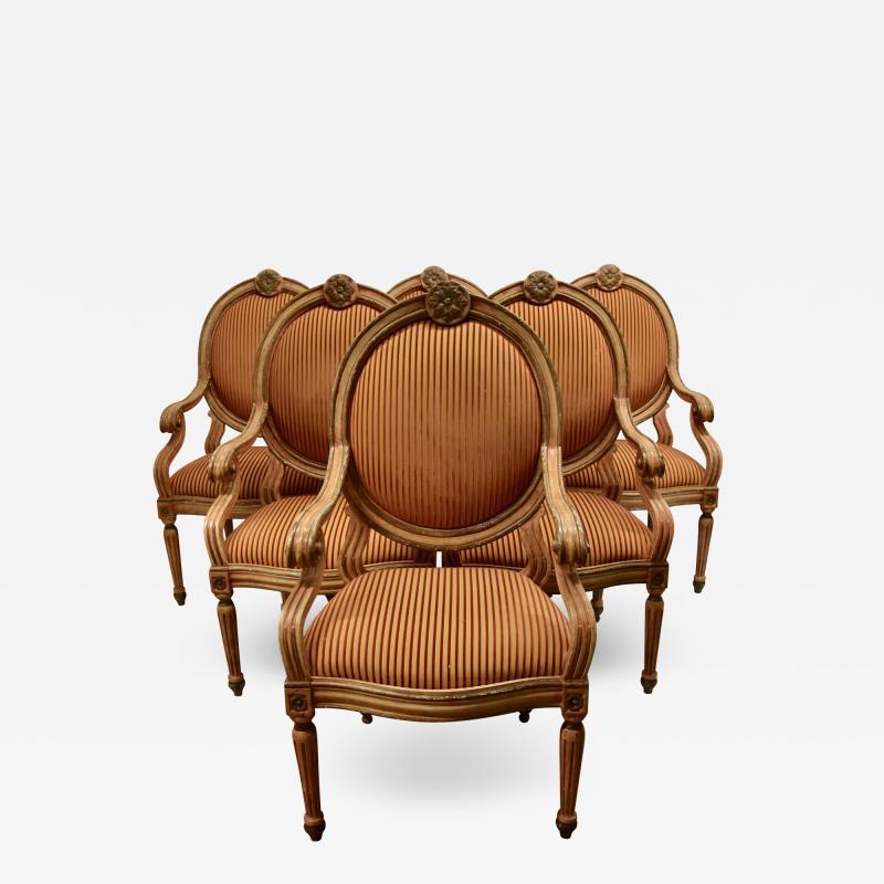 Set of 6 Venetian Arm Chairs
