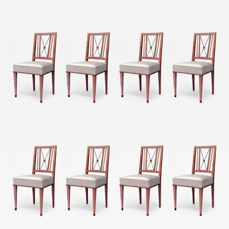 Set of 8 French 1940s Brass Maple Side Chairs