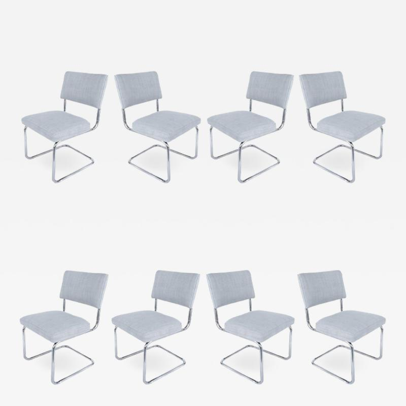 Set of 8 Italian Tubular Chrome Dining Chairs New Upholstery and Cantilevered
