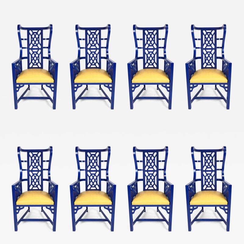 Set of Eight Chinoiserie Blue Lacquered Dining Chairs