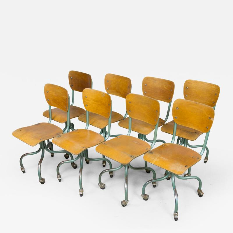 Set of Eight Plywood Rolling School Chairs