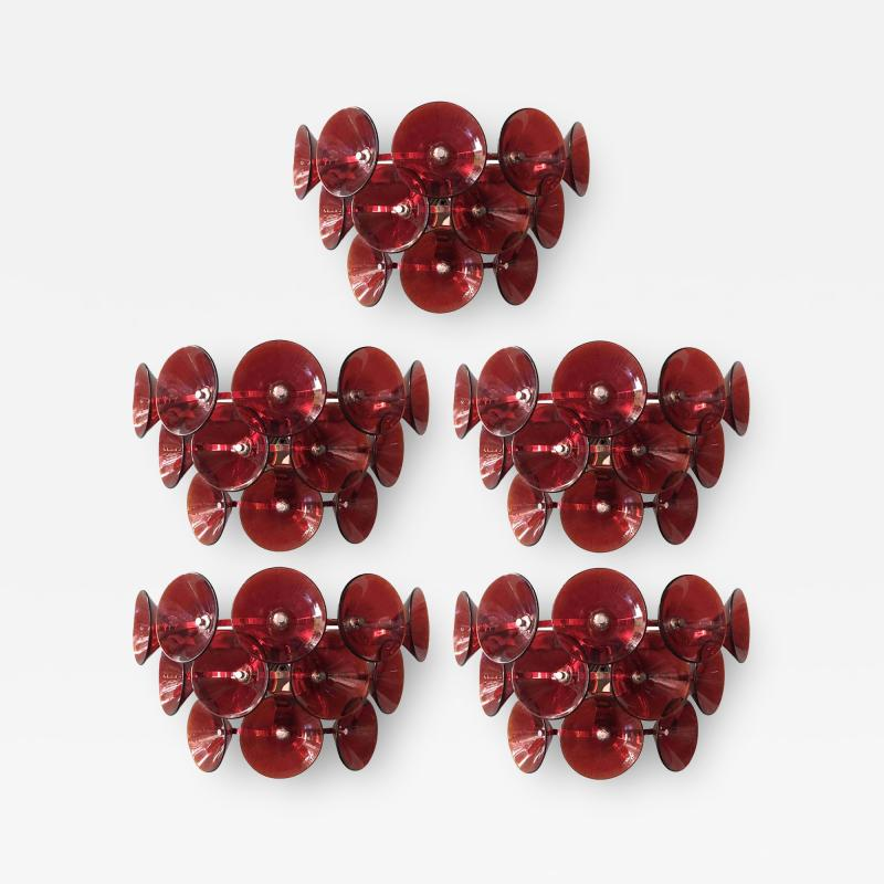 Set of Five Vintage Italian Sconces Murano Glass Designed by Visoti