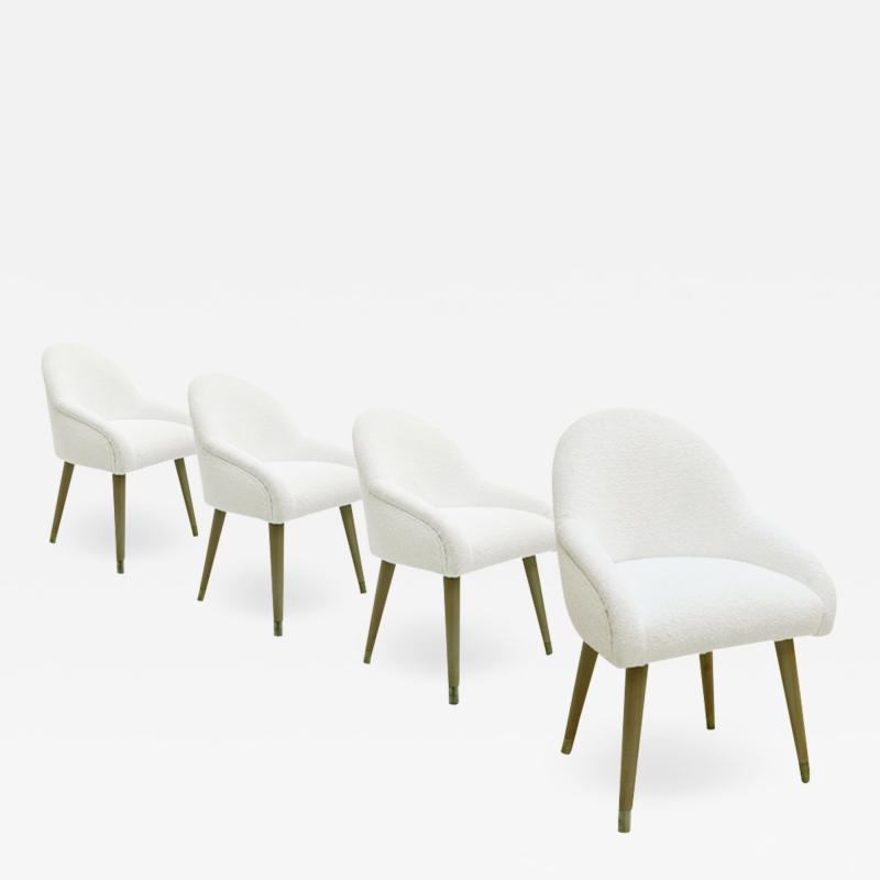 Set of Four Beechwood Brass and Boucl Chairs