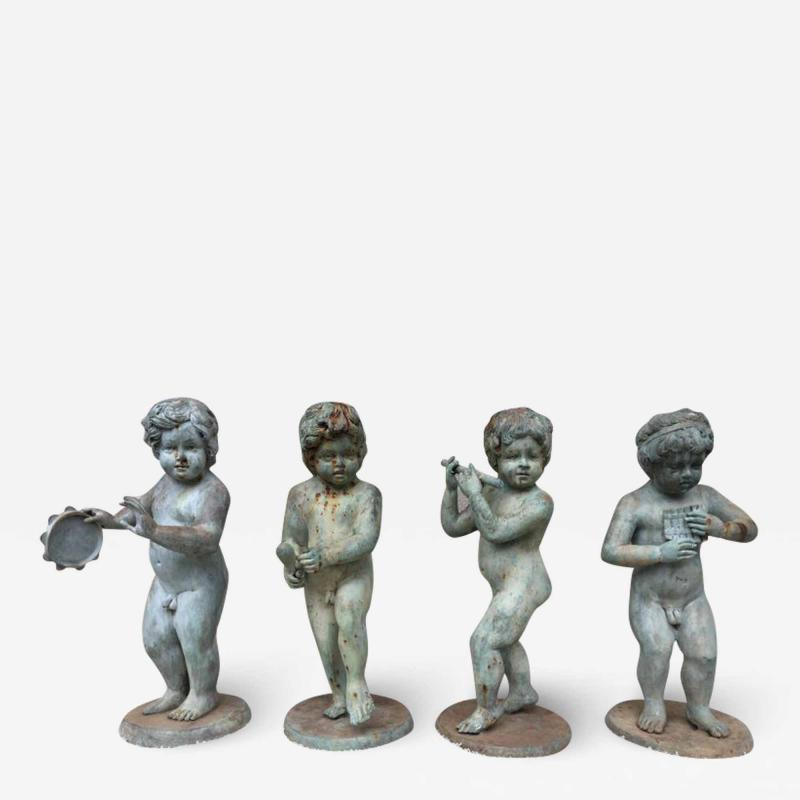 Set of Four Bronze Classical Style Musical Putti or Cherub Garden Statuary