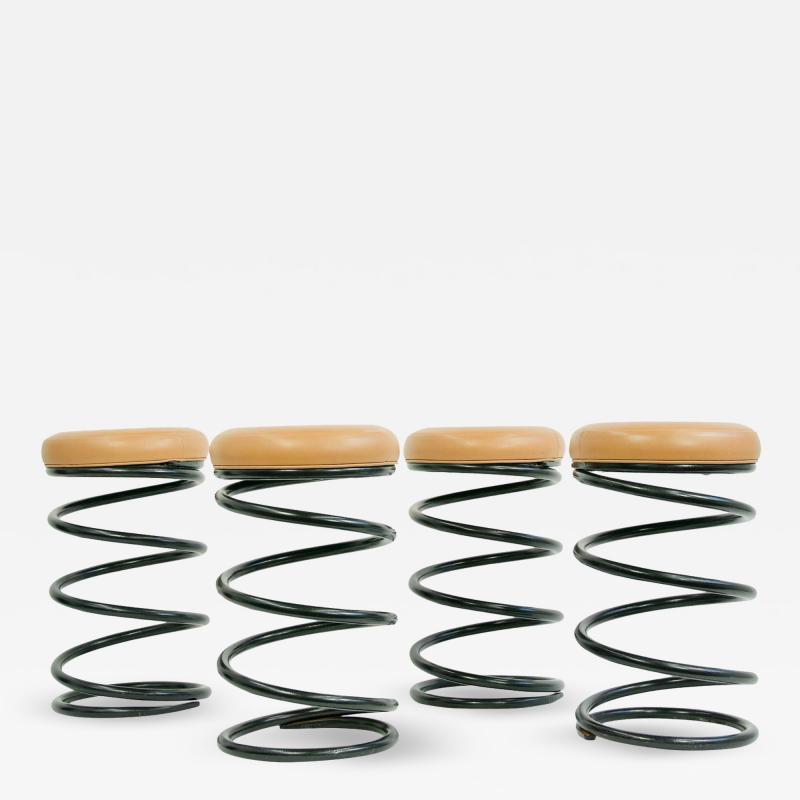 Set of Four Coil Spring Bar Stools
