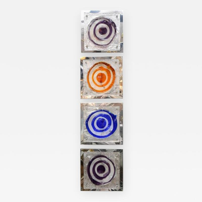 Set of Four Colorful Square Wall Sconces