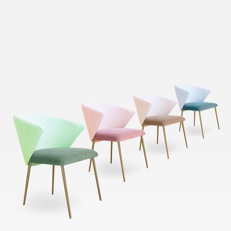 Set of Four Contemporary Modern Cotton Velvet Italian Chairs