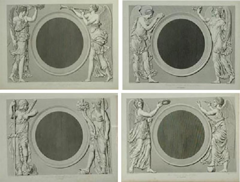 Set of Four Early 19th century Prints of the Louvre by Baltard
