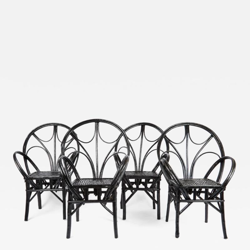 Set of Four Moroccan Wicker Chairs
