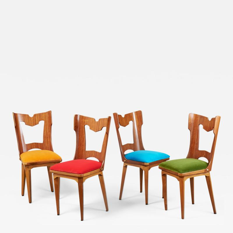 Set of Four Sculptural Chairs Italy 1950s