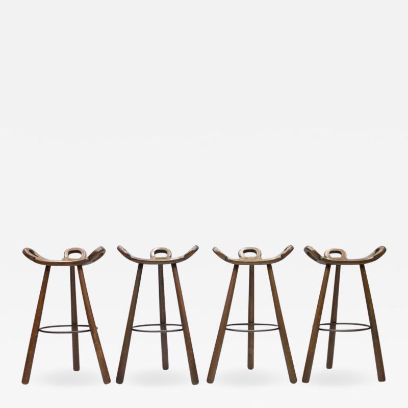 Set of Four Spanish Bar Stools 1960s