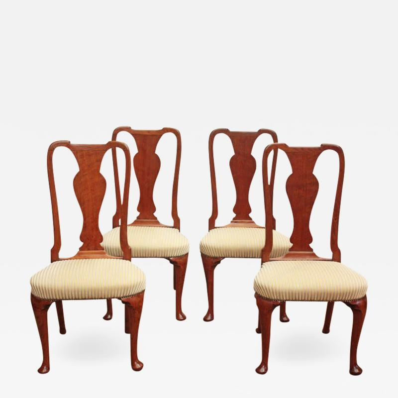 Set of Georgian Chairs with Urn Form Splats Queen Anne Style
