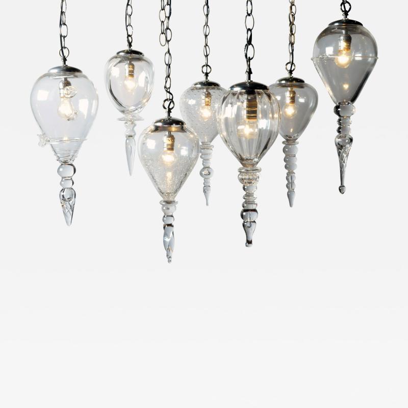 Set of Seven Hand Blown Glass Pendant Light Fixture