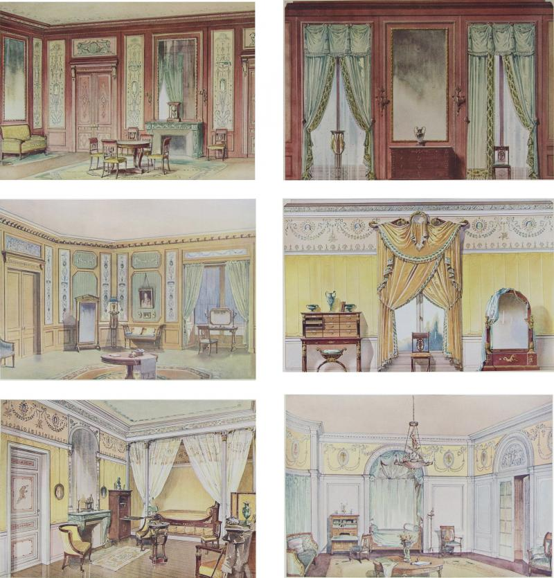 Set of Six Antique French Interior Prints
