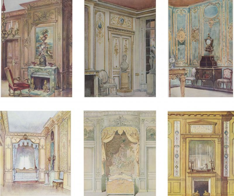 Set of Six Antique Interior Prints