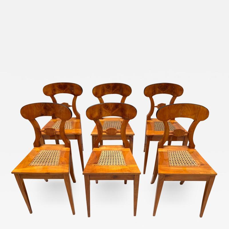 Set of Six Biedermeier Board Chairs Cherry Veneer Mesh Austria circa 1830