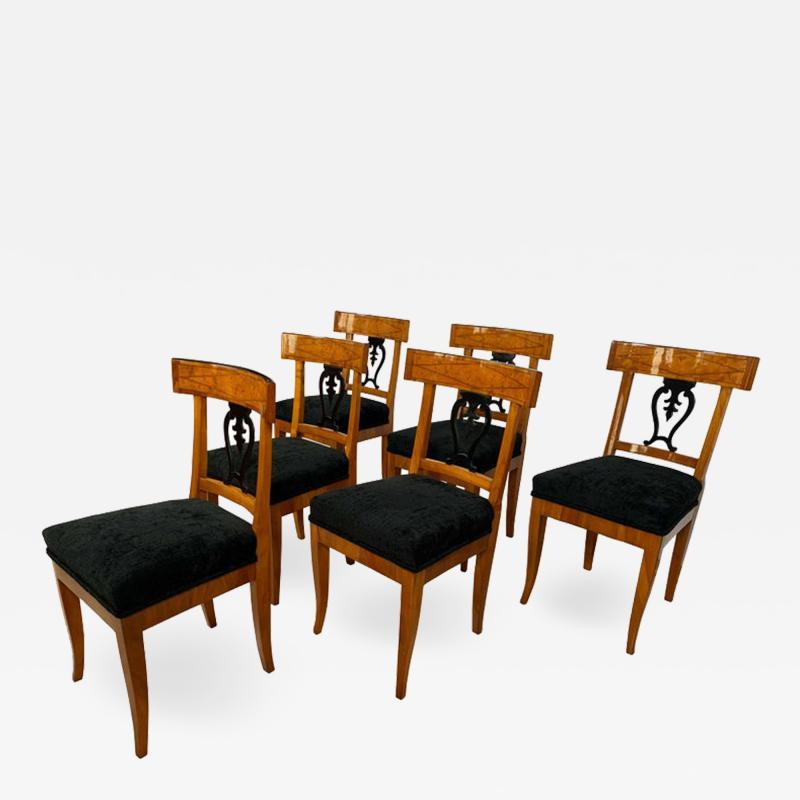 Set of Six Biedermeier Chairs Cherry Veneer and Ash Roots Germany circa 1820