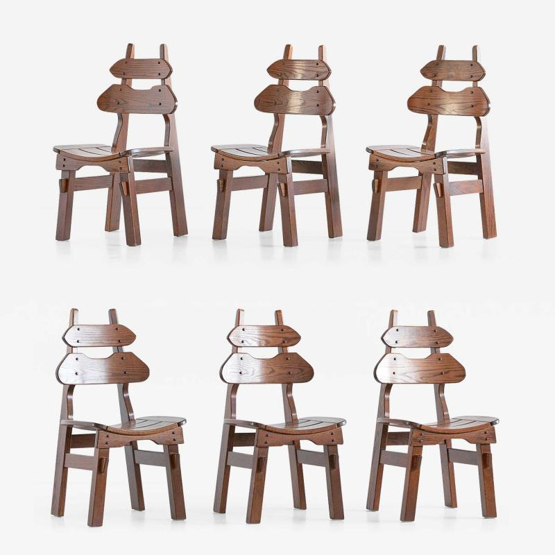 Set of Six Brutalist Dining Chairs in Solid Oak Spain 1970s