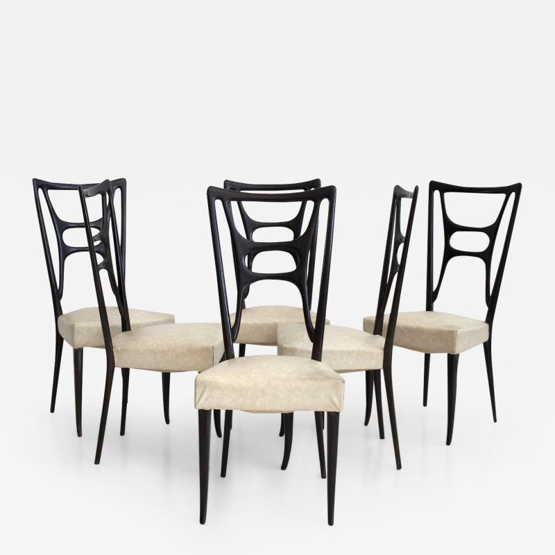 Set of Six Ebonized Wood Dining Chairs