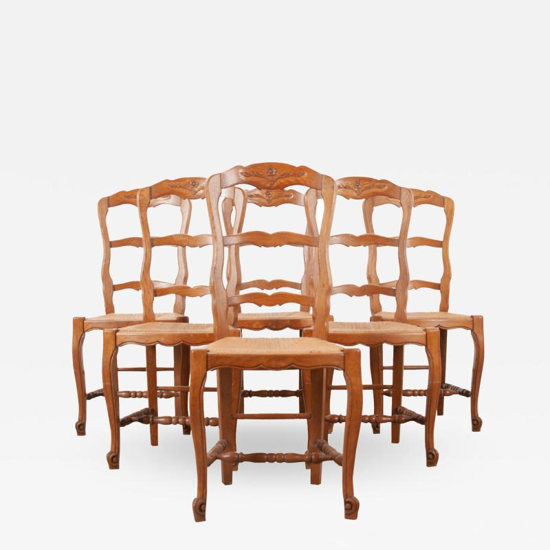 Set of Six French 20th Century Rush Seat Dining Chairs