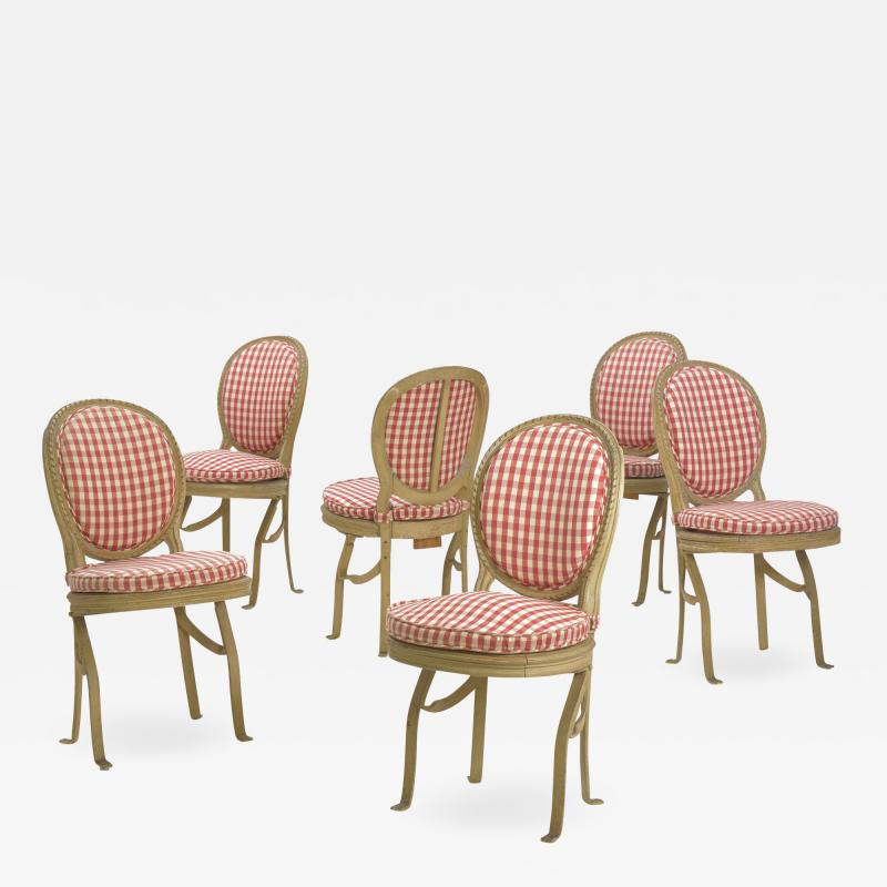 Set of Six French Antique Painted Theater Seats Dining Chairs circa 1890