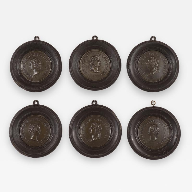Set of Six Grand Tour Spelter Medallions Mid 19th c