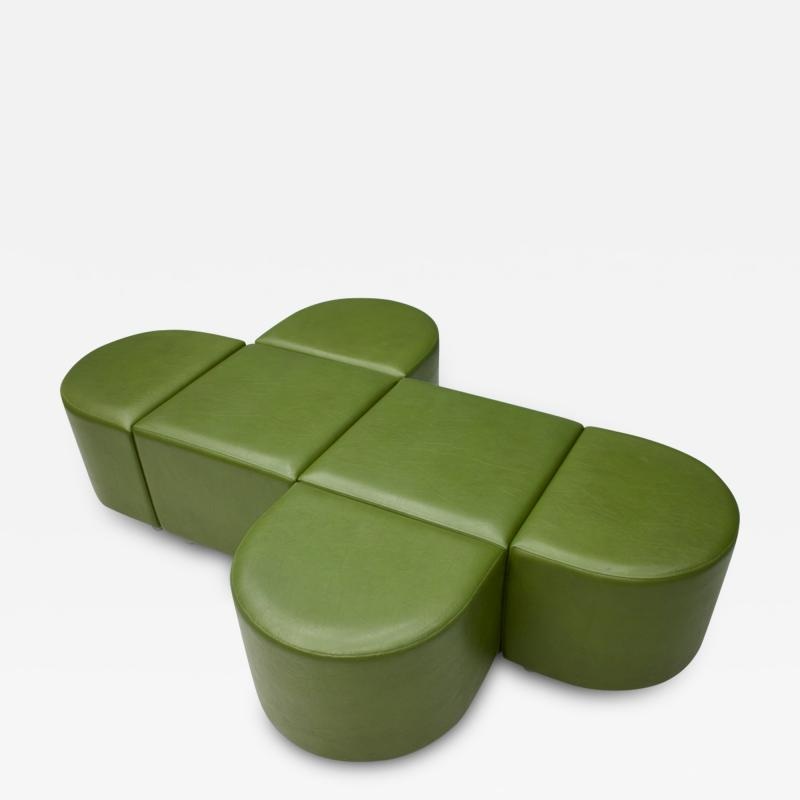 Set of Six Green Faux Leather Stools Bench Chair