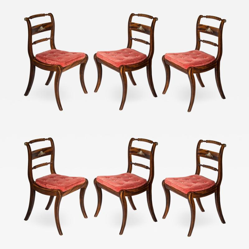 Set of Six Regency Painted Klismos Chairs