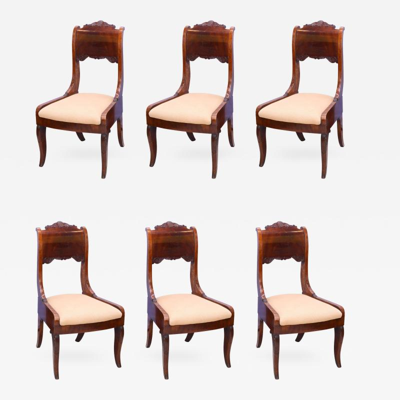 Set of Six Russian Neoclassic Mahogany Dining or Side Chairs
