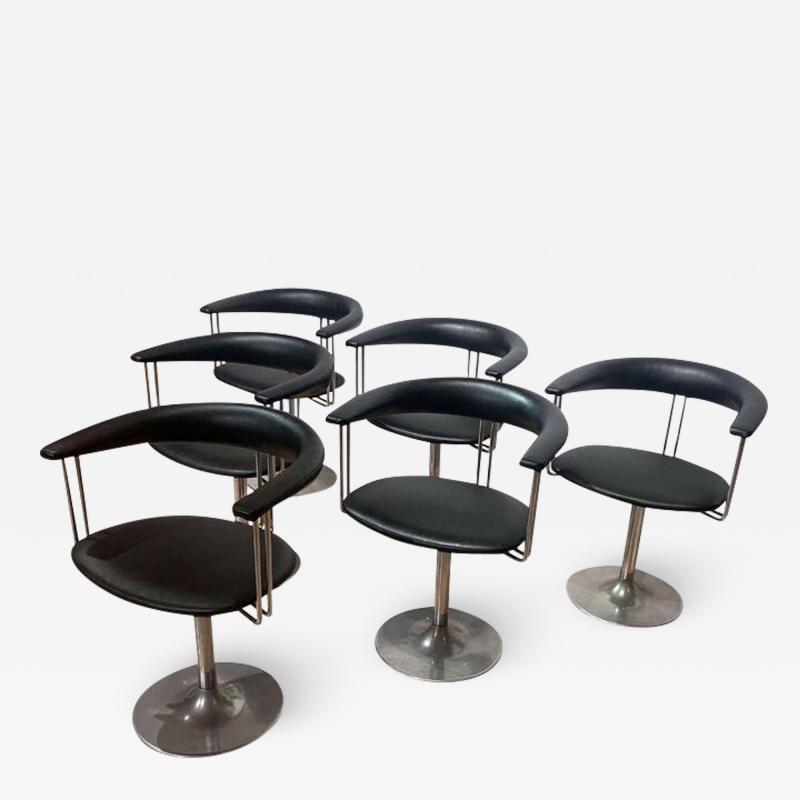 Set of Six Vintage Swivel Armchairs Metal Black Leather Netherlands 1970s